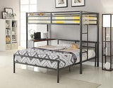 COOL TWIN OVER FULL GUN METAL YOUTH BUNK BED STORAGE BEDROOM FURNITURE SET