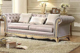 STUNNING FAUX SILK UPHOLSTERED TRADITIONAL TUFTED SOFA & LOVE SEAT FURNITURE SET