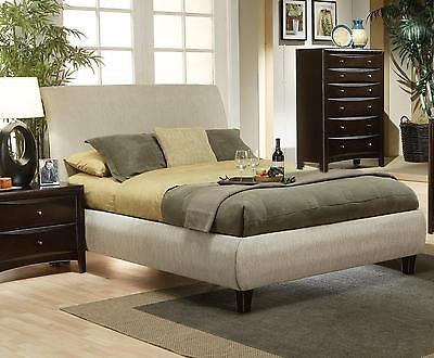 MODERN LIGHT BEIGE FABRIC LOW PROFILE KING BED BEDROOM FURNITURE