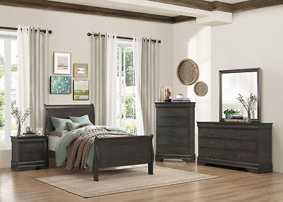 5 PC GRAY LOUIS PHILIPPE QUEEN SLEIGH BED N/S DRESSER MIRROR CHEST BEDROOM SET