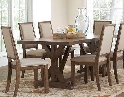 WEATHERED ACACIA WIRE BRUSHED WOOD DINING TABLE & CHAIRS FURNITURE 7 PC SET
