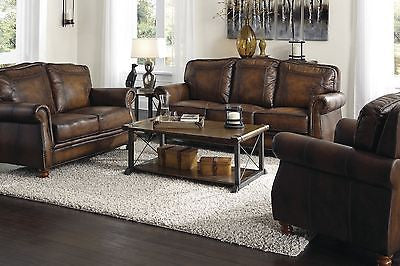OPULENT HAND RUBBED BROWN 100% LEATHER SOFA & LOVE SEAT LIVINGROOM FURNITURE SET