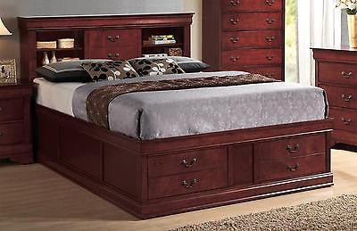 BROWN QUEEN HEADBOARD & FOOTBOARD BOOKCASE STORAGE BED BEDROOM FURNITURE