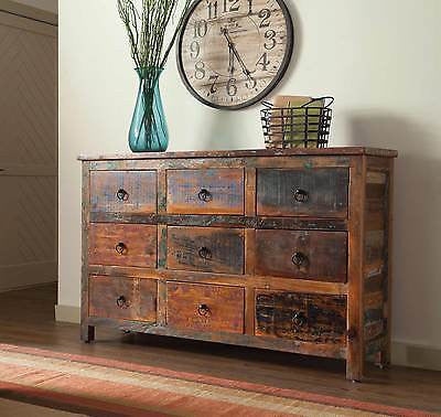 ARTSY & RUSTIC RECLAIMED WOOD 9 DRAWER STORAGE CHEST CABINET