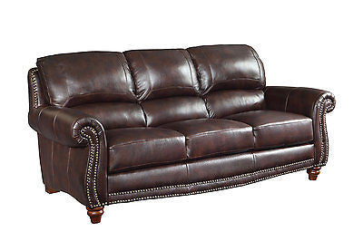 SUMPTUOUS TOP GRAIN BURGUNDY BROWN LEATHER SOFA LIVING ROOM FURNITURE