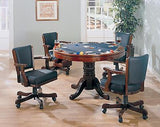 SOLID WOOD 3 IN 1 POKER BUMPER POOL DINING GAME TABLE & 4 ROLLING ARM CHAIRS SET