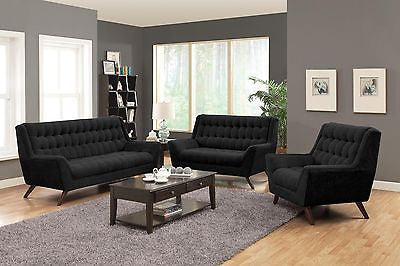 RETRO MOD BLACK CHENILLE SOFA & LOVESEAT LIVING ROOM FURNITURE SET