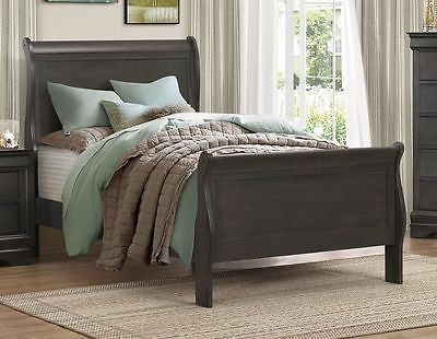 GRAY GREY LOUIS PHILIPPE TWIN CAPTAIN'S SLEIGH BED YOUTH BEDROOM FURNITURE