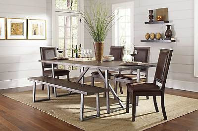 RUSTIC WIRE BRUSHED DINING TABLE CHAIRS & BENCH DINING ROOM FURNITURE SET