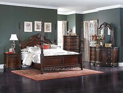 BEAUTIFUL 5 PC BURL INLAY POSTER QUEEN BED NS DRESSER MIRROR CHEST FURNITURE SET