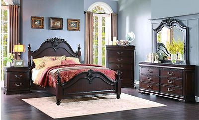 ELEGANT CHERRY FINISH 4 PC QUEEN BED N/S DRESSER & MIRROR BEDROOM FURNITURE SET