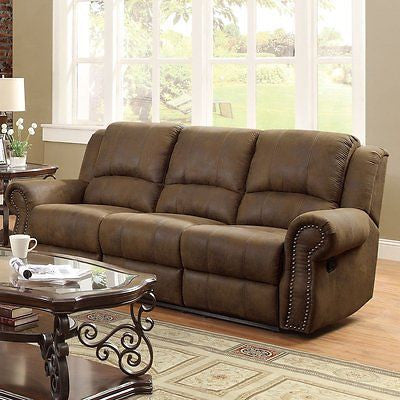 TRADITIONAL BROWN MICROFIBER NAILHEAD ACCENT SOFA LIVING ROOM FURNITURE