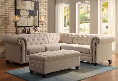 TRADITIONAL BUTTON TUFTED OATMEAL LINEN BLEND FABRIC SOFA SECTIONAL FURNITURE