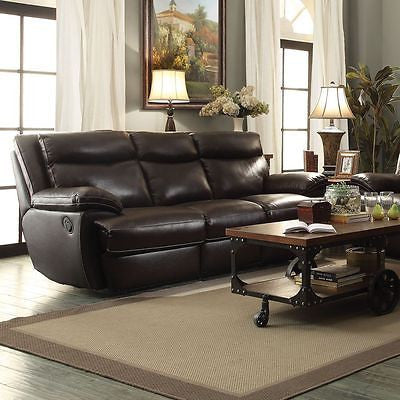 SLEEK BROWN TOP GRAIN LEATHER MATCH RECLINING MOTION SOFA LIVING ROOM FURNITURE