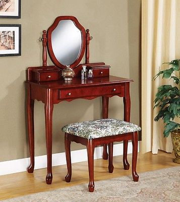 QUEEN ANNE CHERRY FINISH VANITY DRESSING TABLE & STOOL SET