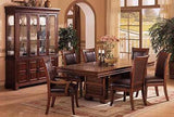 OLD WEST STYLE FORMAL DINING TABLE & TOP LEATHER CHAIRS DININGROOM FURNITURE SET