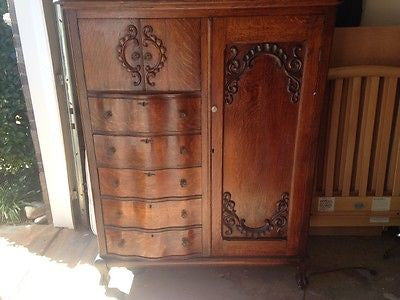 RARE Antique Quartersawn Tiger Oak Karges IN Chifferobe Wardrobe Armoire Nouveau