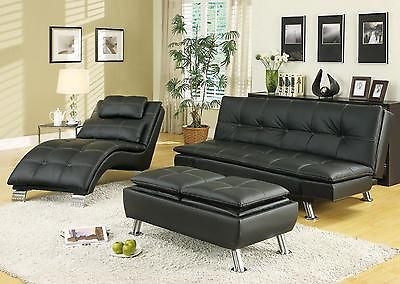 STYLISH BROWN LEATHER LIKE SOFA, CHAISE & OTTOMAN LIVING ROOM FURNITURE SET