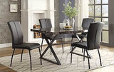 MODERN 5 PC METAL FAUX MARBLE BLACK VINYL DINING TABLE & CHAIRS FURNITURE SET