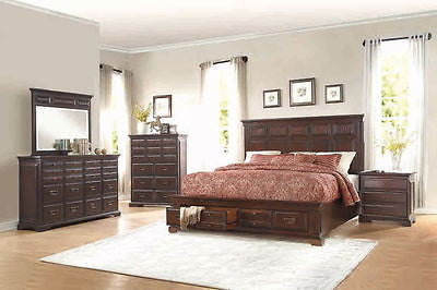 4 PC FAUX CROCODILE CHERRY FINISH QUEEN BED DRESSER MIRROR FURNITURE SET