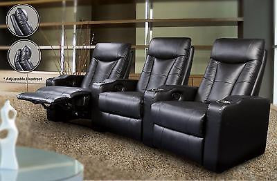 BLACK LEATHER 3 RECLINER RECLINING THEATER SEATS FURNITURE SET