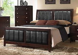 CASUAL CAPPUCCINO & BLACK VINYL UPHOLSTERED KING BED BEDROOM FURNITURE