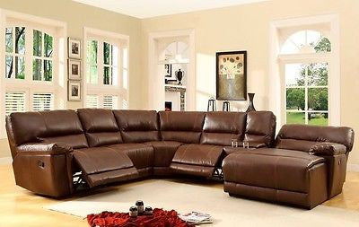 BIG & COMFY BROWN LEATHER DOUBLE 2 RECLINER RECLINING SOFA CHAISE SECTIONAL SET