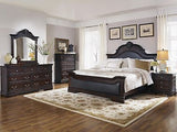 CLASSIC DARK CHERRY KING BED WITH FAUX LEATHER HEADBOARD & FOOTBOARD