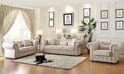 BEAUTIFUL BEIGE BUTTON TUFTED SOFA & LOVESEAT LIVING ROOM FURNITURE SET