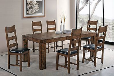RUSTIC ROUGH SAWN EXPOSED BOLTS SOLID WOOD DINING TABLE & CHAIRS FURNITURE SET