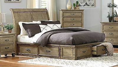 TRANSITIONAL DRIFTWOOD FINISH SLEIGH PLATFORM QUEEN BED WITH DRAWER STORAGE