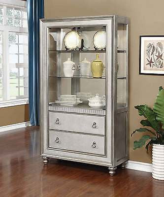 MODERN METALLIC PLATINUM SILVER MIRRORED CURIO CHINA CABINET FURNITURE