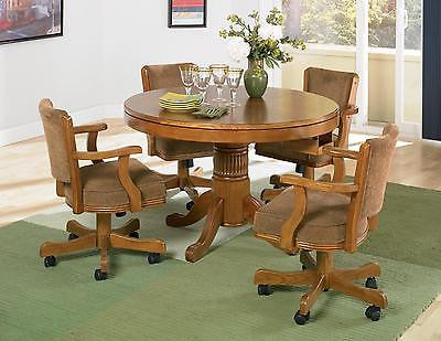 SOLID OAK 3 IN 1 POKER BUMPER POOL DINING GAME TABLE & 4 ROLLING ARM CHAIRS SET
