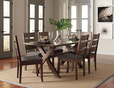 RUSTIC MODERN NUTMEG WOOD GREY FABRIC DINING TABLE & CHAIRS FURNITURE 7 PC SET