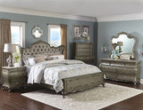 GORGEOUS GOLD FINISH JEWEL TUFTED FAUX SILK QUEEN WING BED BEDROOM FURNITURE