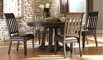 SPANISH STYLE ESPRESSO WOOD LEATHERETTE DINING TABLE & CHAIRS FURNITURE 5 PC SET