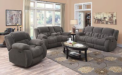COZY CHARCOAL TEXTURED CHENILLE RECLINING MOTION SOFA & LOVESEAT FURNITURE SET