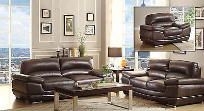 EYE CATCHING LOW PROFILE FAUX LEATHER SOFA & LOVE SEAT LIVING ROOM FURNITURE SET