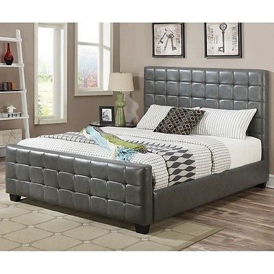 COOL CONTEMPORARY GRAY LEATHERETTE TUFTED KING BED BEDROOM FURNITURE
