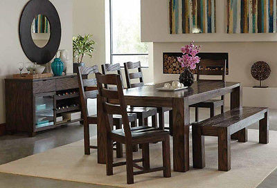 RUSTIC DARK BROWN WOOD TABLE CHAIRS & BENCH DINING TABLE FURNITURE SET