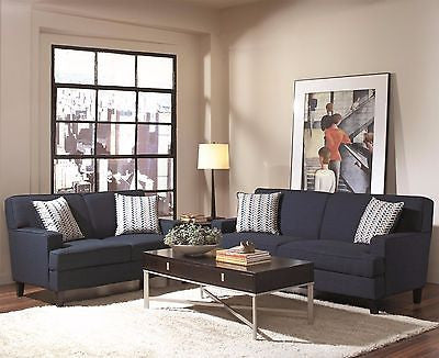 GORGEOUS INK BLUE LINEN LIKE SOFA & LOVESEAT LIVING ROOM FURNITURE SET