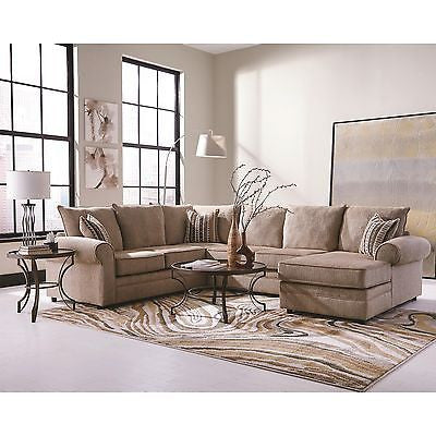 BIG CREAM CHENILLE  HERRINGBONE SOFA SECTIONAL CHAISE LIVING ROOM FURNITURE SET