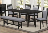 CONTEMPORARY DINING TABLE & LADDER BACK CHAIRS & BENCH DINING FURNITURE SET