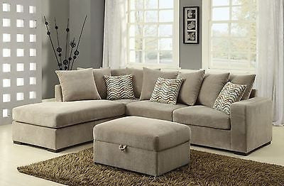 REVERSIBLE CONFIGURATION TAUPE CHENILLE SECTIONAL LIVING ROOM FURNITURE SET