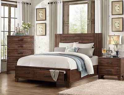 RUSTIC NATURAL WOOD FINISH KING BED WITH STORAGE DRAWERS BEDROOM FURNITURE