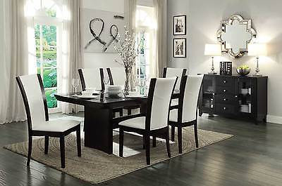 CONTEMPORARY 7 PC ESPRESSO FINISH INSET GLASS DINING TABLE & WHITE CHAIRS SET