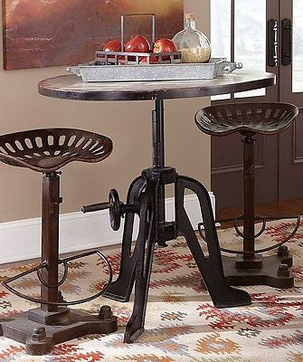 COOL COMPACT CRANK TOP IRON LIFT TOP DINING PUB BAR TABLE & TRACTOR SEAT STOOLS