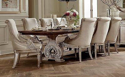 "GRAND ANTIQUE WHITE WASH 118"" FORMAL DINING TABLE LINEN CHAIRS FURNITURE SET"