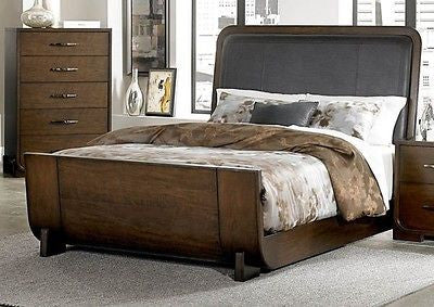 STRIKING LOW PROFILE CHERRY FINISH QUEEN SLEIGH BED BEDROOM FURNITURE