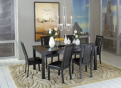 MODERN GLASS INSERT CROCODILE EMBOSSED DINING TABLE & CHAIRS FURNITURE SET